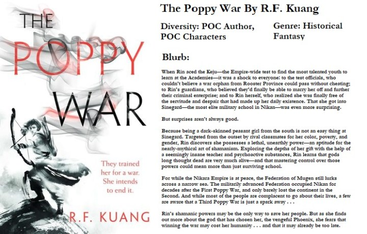 The Poppy War By R.f. Kuang, Online Book Club, Diverse Reading, November Book Club Book blogger #BookyChats Book Club: November's Pick & Introduction