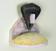 The Collection, 2009, iron-rich stoneware, porcelain, mason stains, faux fur, nylon flock, colored sand, fabric, felted wool, wood Magda Gluszek and Lindsay Oesterritter