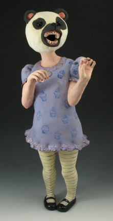 "Velma, 2010, terracotta, underglaze, glaze,, 31"" x 10"" x 10"""