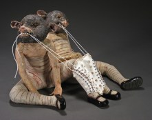 "The Twins, 2006, terracotta/porcelain,mixed media, 17"" x 25"" x 25"""