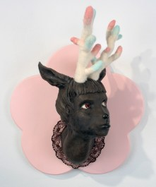 "Fashion Victim #1, 2009, clay, felted wool, paint, lace wood, 21"" x 17"" x 10"""