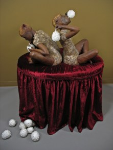 "Gossipers, 2008, terracotta, porcelain, lace, wax, oil paint, fabric, wood, 47"" x 35"" x 30"""