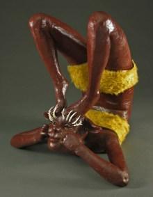 "Preen, 2008, terracotta, porcelain, faux fur, oil paint, MDF board, linoleum, 52"" x 30"" x 30"""