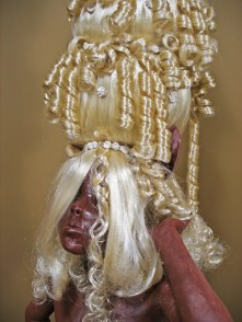 "Blind Beauty, 2008, terracotta, porcelain, lace, wax, synthetic hair, batting, faux fur, metal, 65"" x 20"" x 20"""