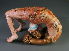"Glazed, 2009, terracotta, porcelain, glaze, wool, paint, 11"" x 17"" x 10"""