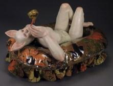 "Small Pond, 2012, stoneware, glaze, resin, fabric, ribbon, glitter, 13"" x 19"" x 15"""