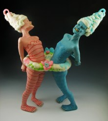 "Denial, 2010, terracotta, underglaze, glaze, gold luster, felted wool, paint, 24"" x 20"" x 12"""