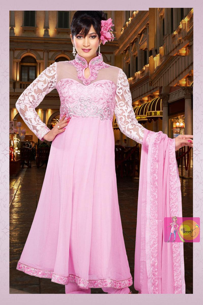 Light Pink Party Wear Churidar Full Sleeve Designer Dress