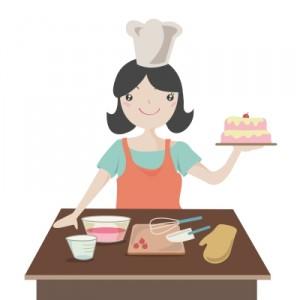 woman baking a cake