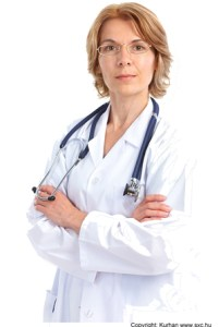 woman doctor in white jacket