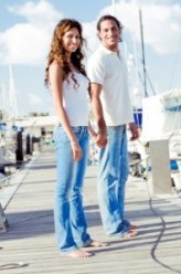 Matching couple on a dock