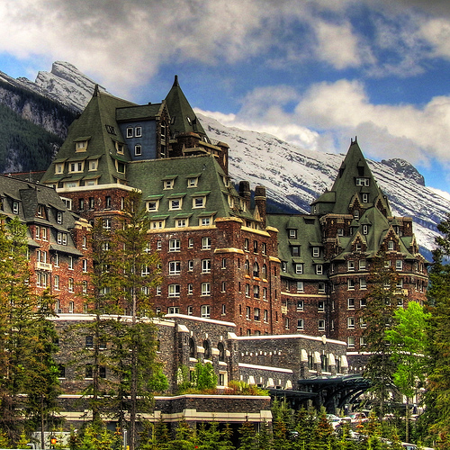 banff, ski getaway , a castle at the mountain base