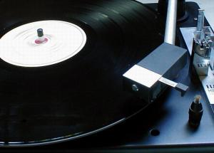 record player spinning a record