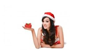Girl With Small Christmas Gift