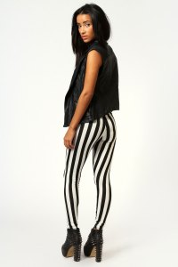 black-and-white stripped leggings