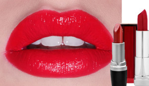 lips wearing red star from maybelline