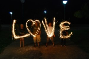 Love written in sparklers.
