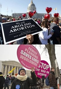 Protesters in abortion debate