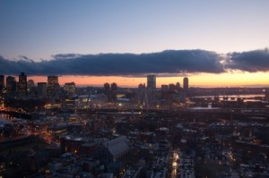 Aerial View Of Boston At Sunset