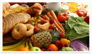 breads, veggies and fruits