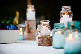 mason jars tea lights