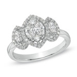 Marquis three stone engagement ring