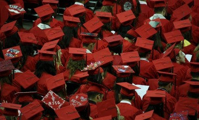 graduation, crowd, graduates