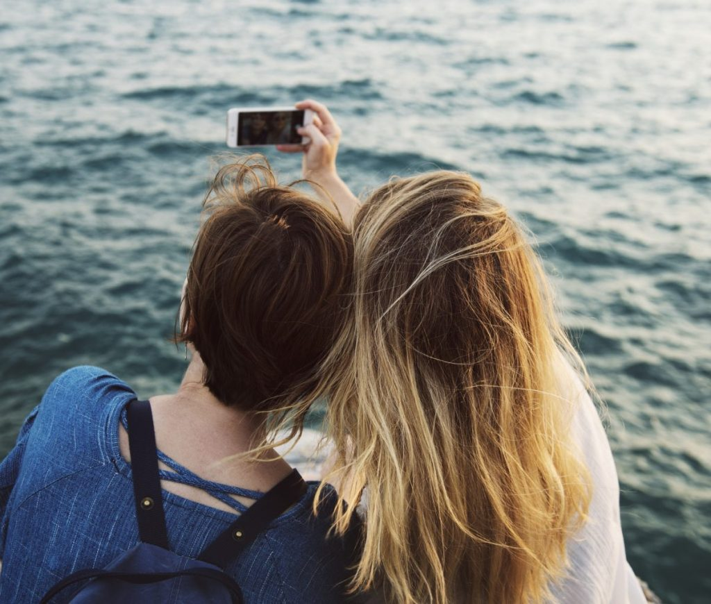 Girls doing selfie