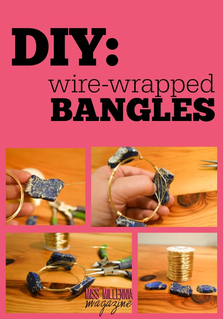 An easy to follow how-to guide on making your very own wire wrapped and stone bangles. It's a simple DIY project. Have fun!