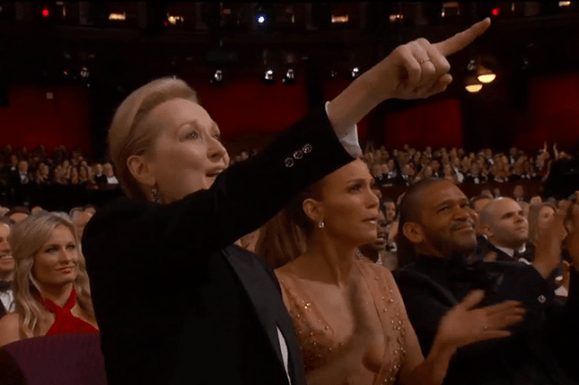 maryl streep and jennifer lopez cheer on patricia arquette during oscar speech