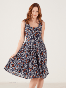 woman in flower pattern dress modeling spring fashion