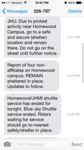 A screenshot of the rapid escalation of JHU security updates in Baltimore.