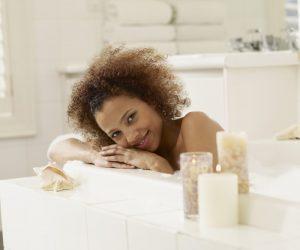 African woman in bubble bath