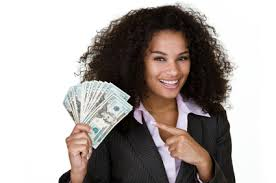 woman with her salary money