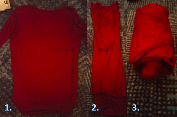 how to roll a shirt to pack a suitcase