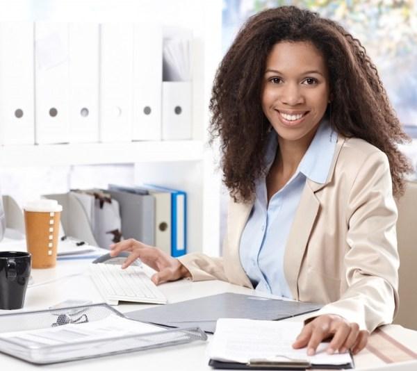 woman at new job