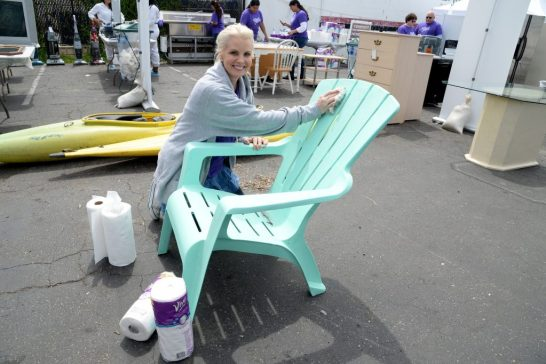"""VENTURA, CALIFORNIA - APRIL 06: Actress and home/DIY expert Monica Potter teams up with Viva Towels and the Boys and Girls Club of Greater Ventura to unleash clean on donated furniture, electronics and appliances, then give them to families in need at Avenue Thrift & Vintage on April 6, 2016 in Ventura, California. (Photo by Michael Kovac/Getty Images for Viva (Kimberly-Clark))"""