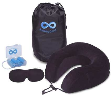 Everlasting Comfort 100% Pure Memory Foam Neck travel Pillow Airplane Travel Kit with Ultra Plush Velour Cover, Sleep Mask and Earplugs