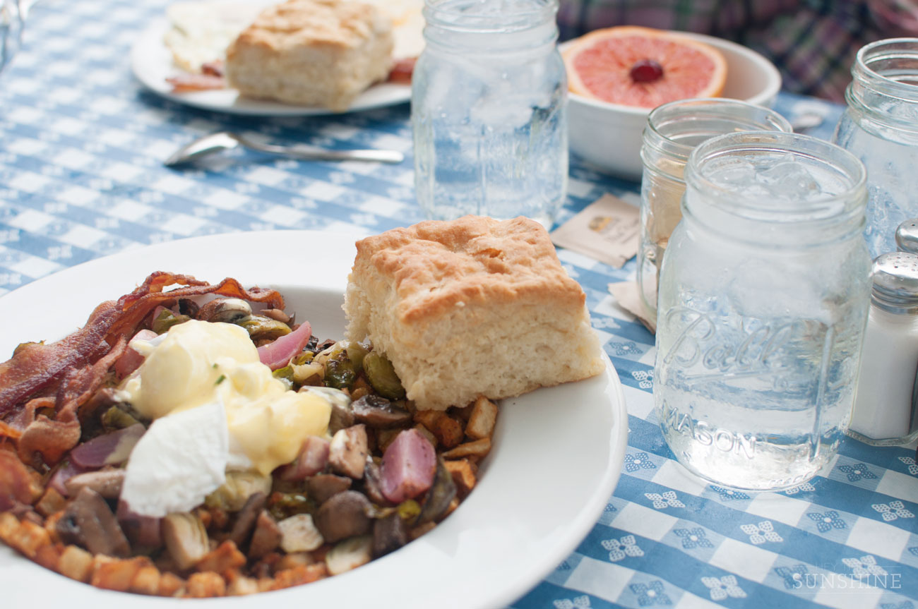 Vegetable and Potato Hash for brunch at Mama's Boy in Athens, GA.
