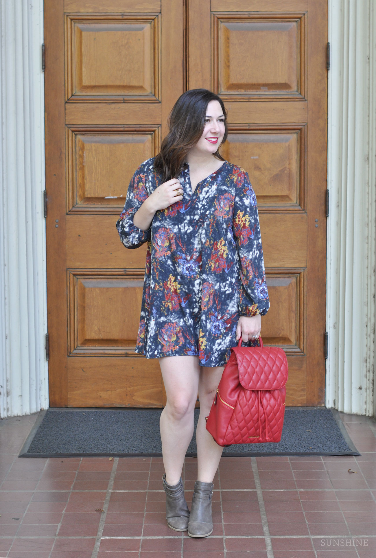 Fall Dress and the perfect Leather Backpack