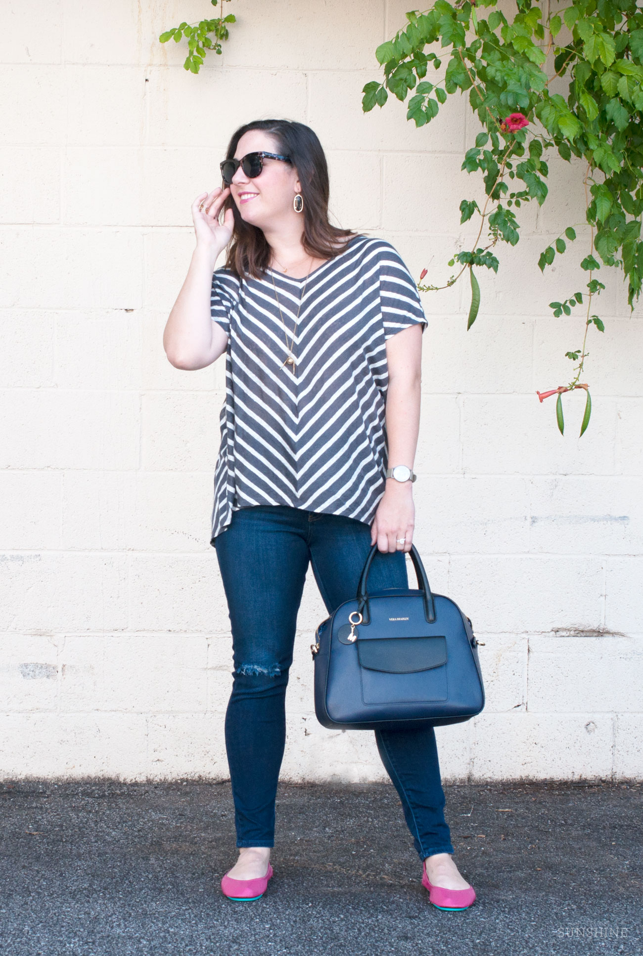 Grey and White Striped Tee and Vera Bradley Bowling Satchel