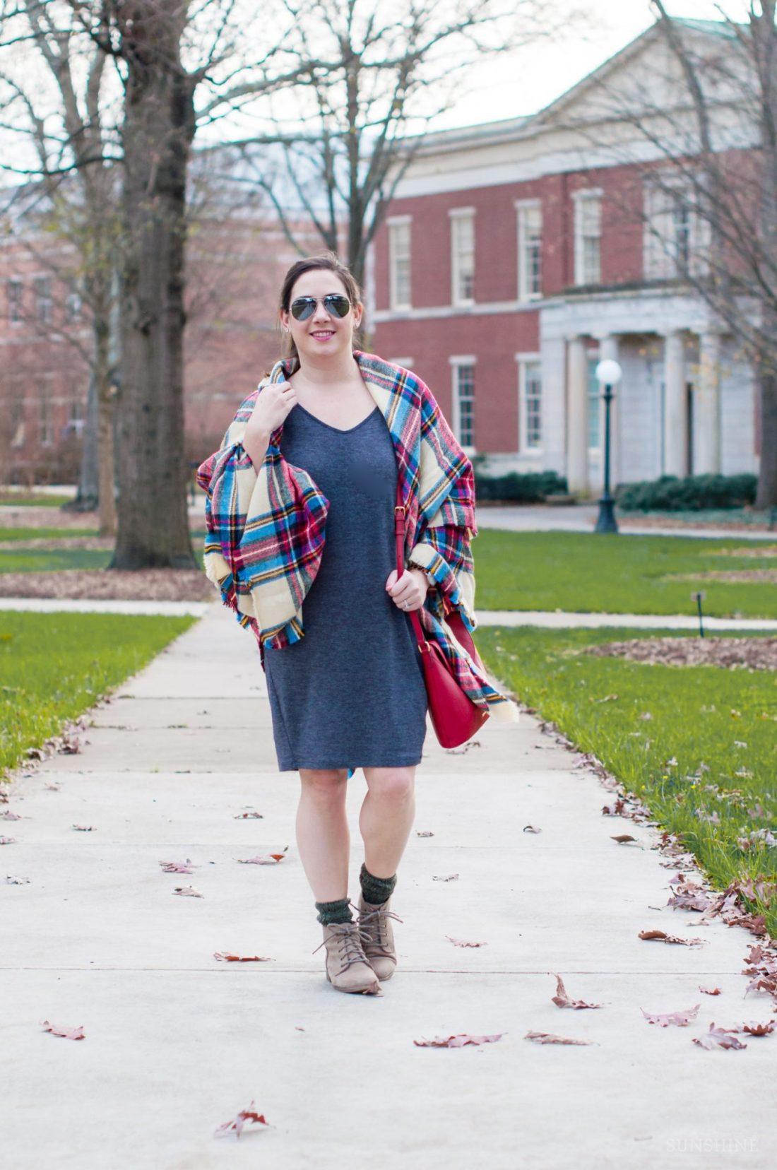 A Blanket Scarf & a Shift Dress