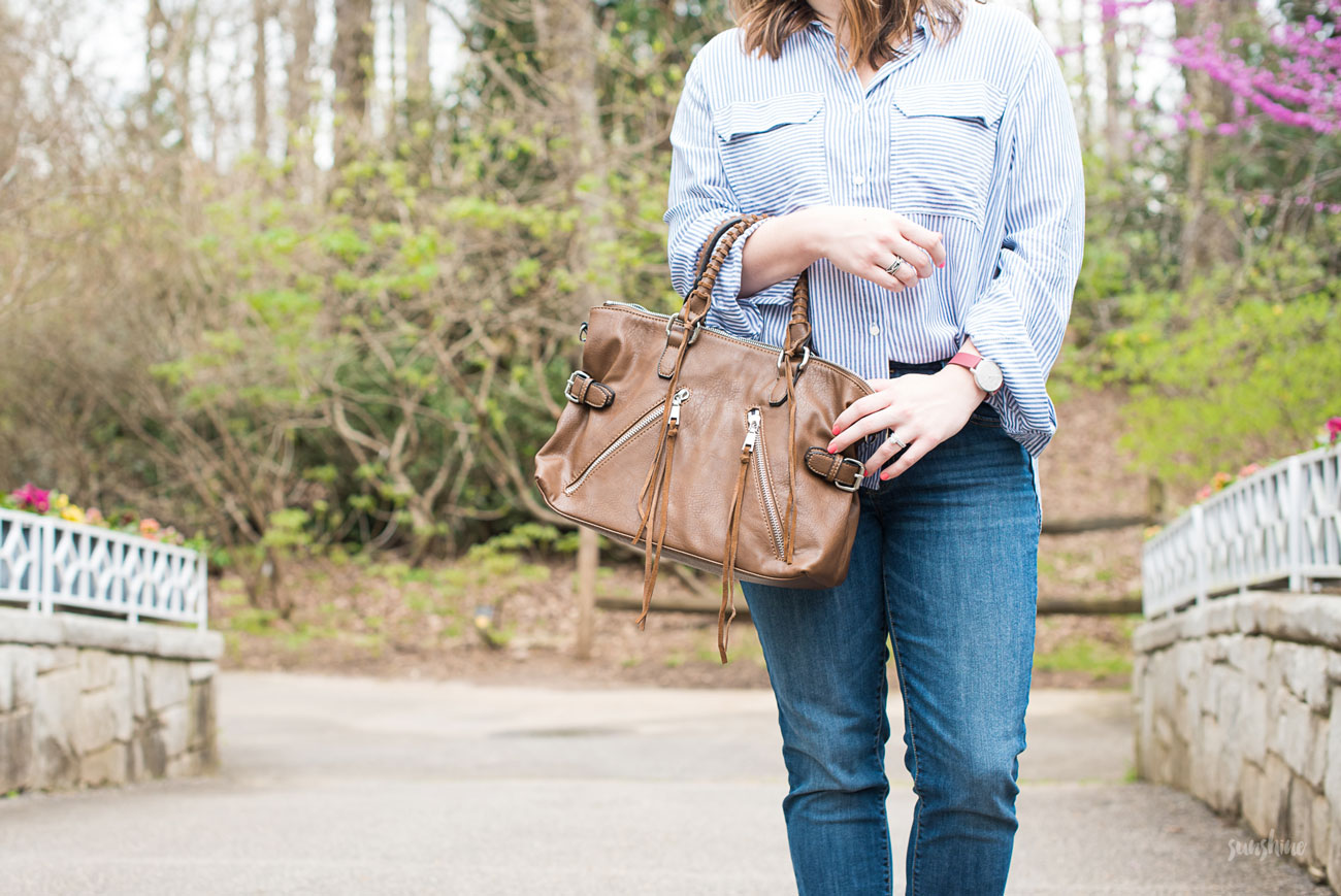 Gap Denim & Shirt, Urban Expressions Purse, Marleylilly Earrings, and Steve Madden Shoes