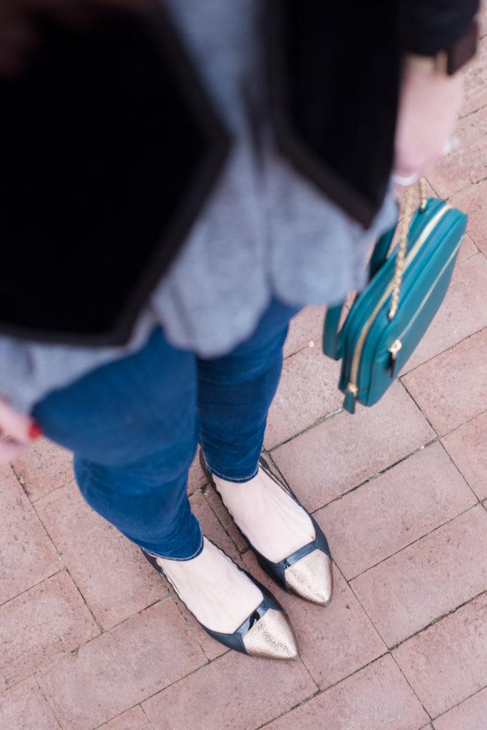 Velvet Blazer | Vera Bradley Crossbody | Butterfly Twists Foldable Flats | @missmollymoon