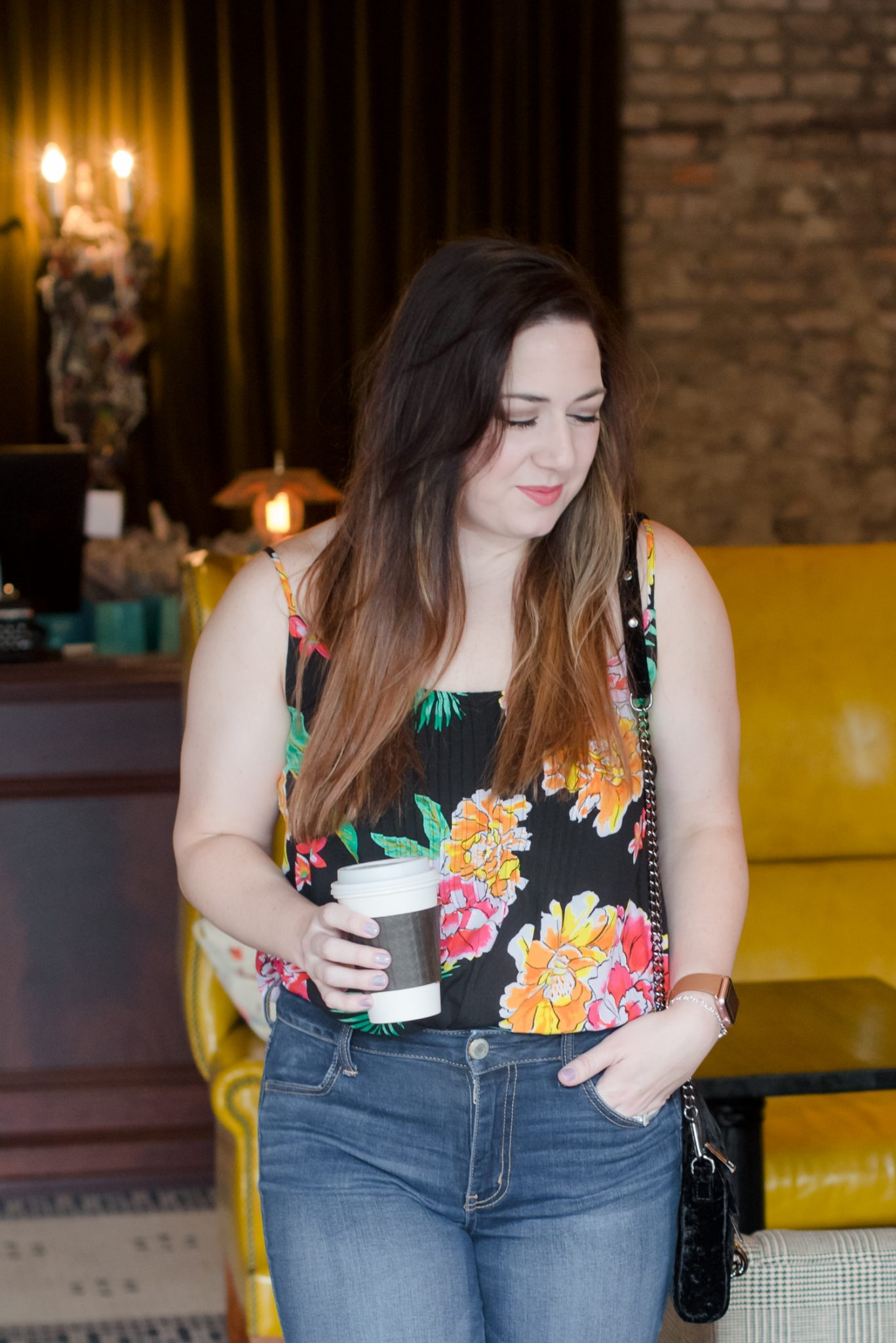 A Floral Tank and High-Waisted Denim // Miss Molly Moon