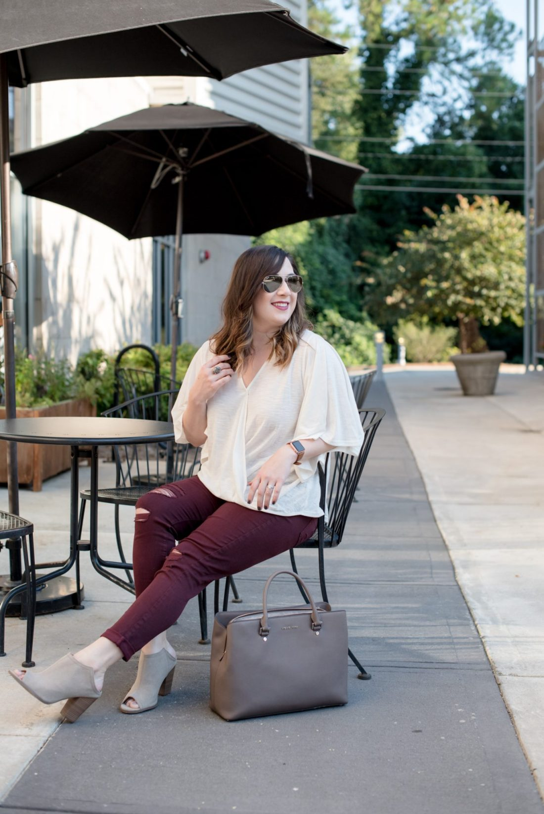 Flutter Sleeves and Maroon Denim for Fall // Miss Molly Moon