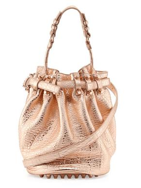 Alexander Wang Diego Dumbo Metallic Bucket Bag, Rose Gold 2014-07-26 13-41-23