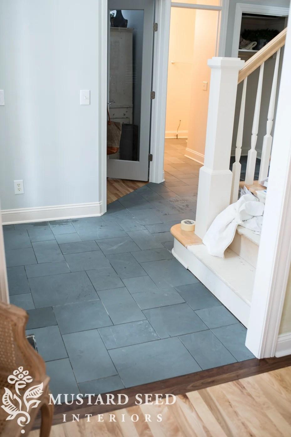 montauk blue slate tile in the foyer