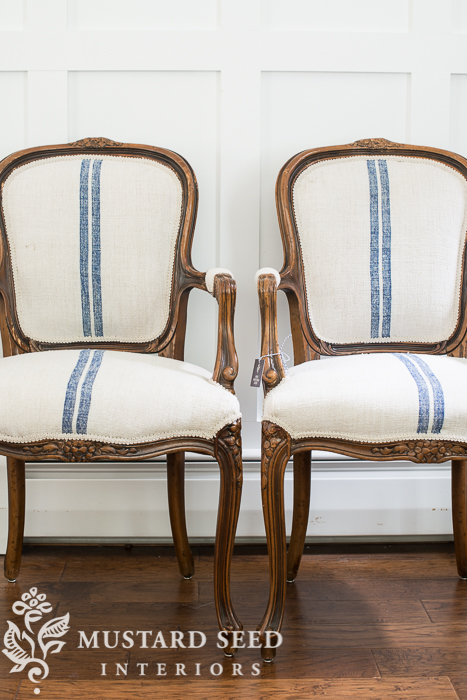 French Louis chairs with flour sack upholstery