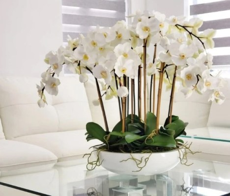 Artificial White Orchids arrangement